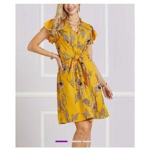 🆕 Marigold Floral Tie-Front Flutter Sleeve Dress